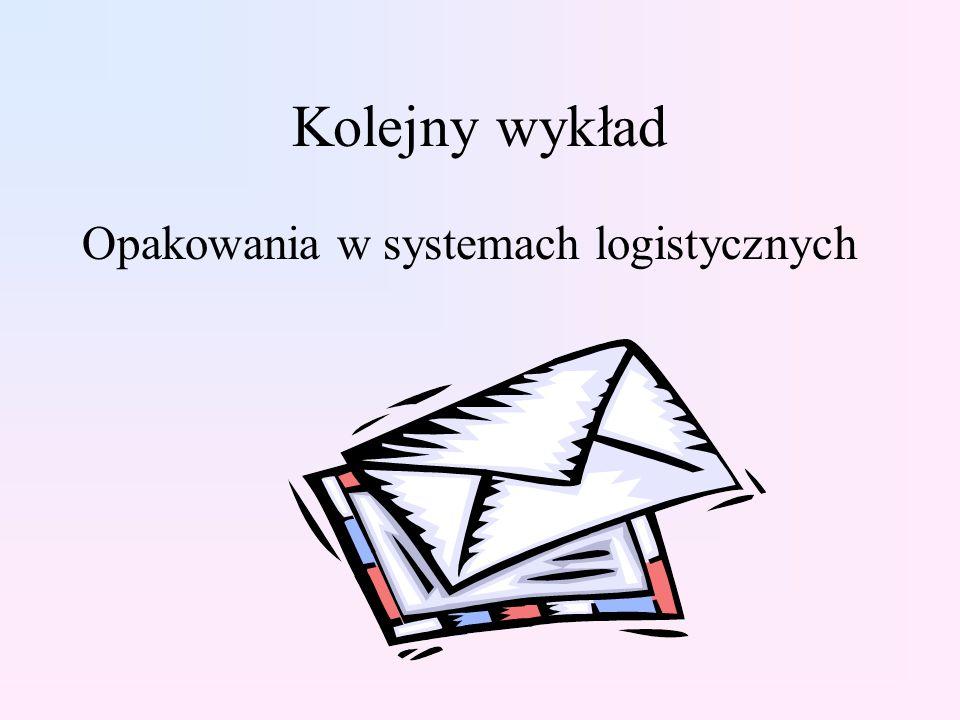 Kolejny wykład Opakowania w systemach logistycznych