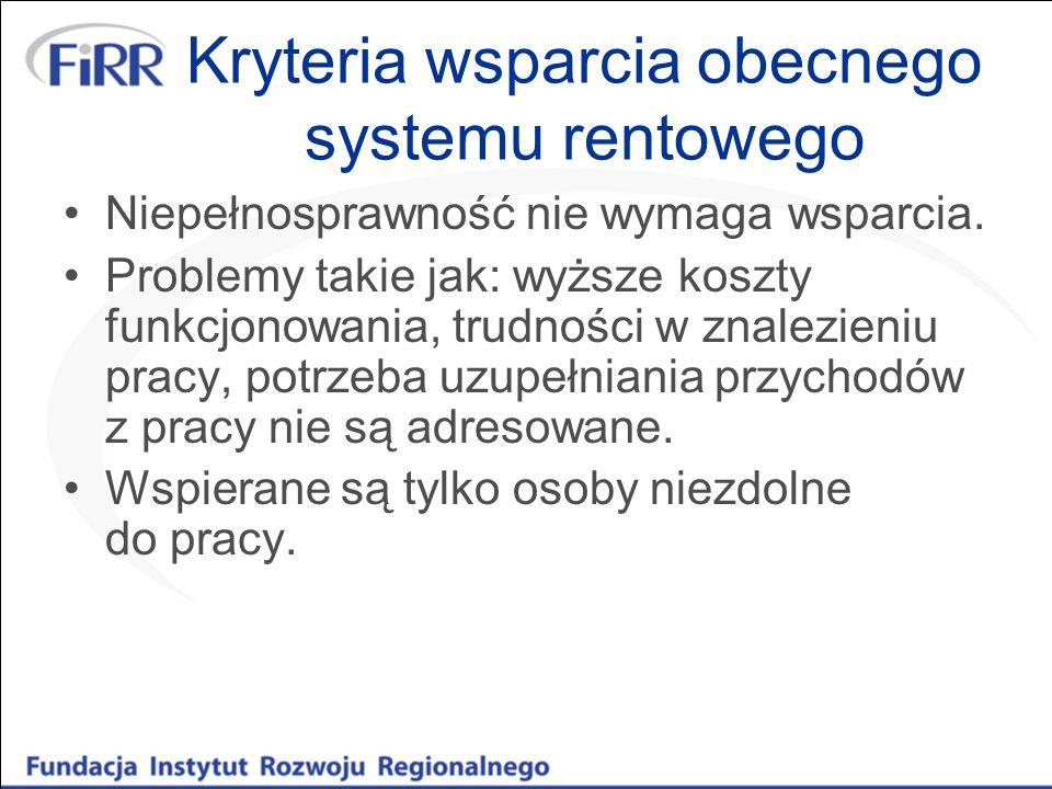 Kryteria wsparcia obecnego systemu rentowego