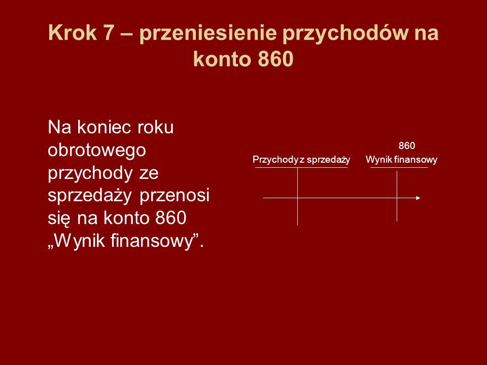 Krok 7 – przeniesienie przychodów na konto 860