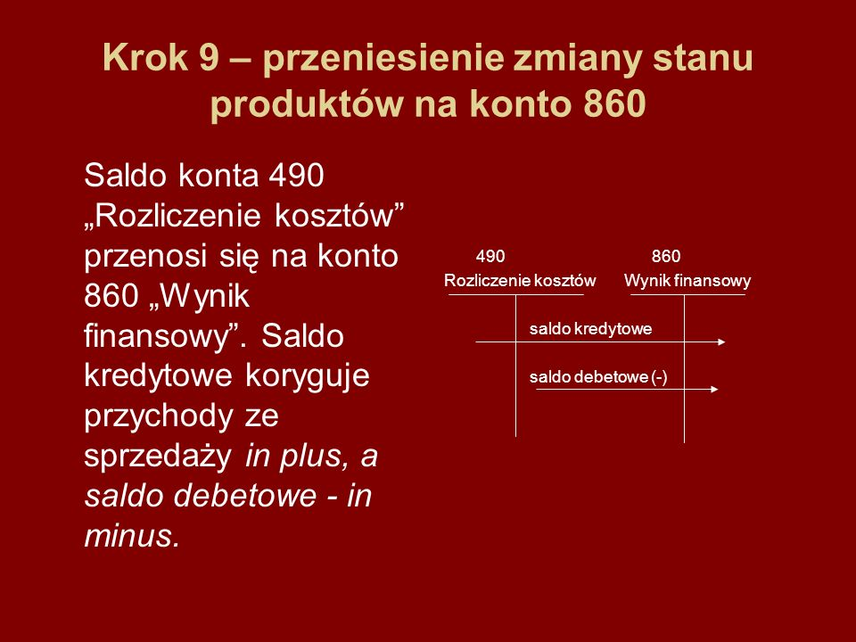 Krok 9 – przeniesienie zmiany stanu produktów na konto 860