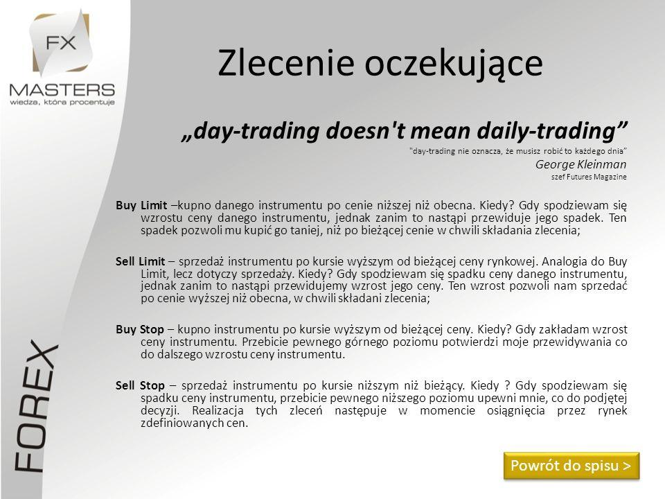 """Zlecenie oczekujące """"day-trading doesn t mean daily-trading"""