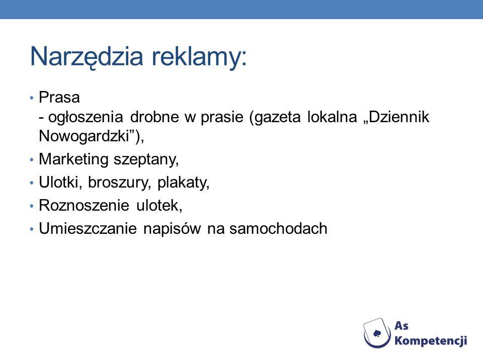 """Narzędzia reklamy: Prasa - ogłoszenia drobne w prasie (gazeta lokalna """"Dziennik Nowogardzki ), Marketing szeptany,"""