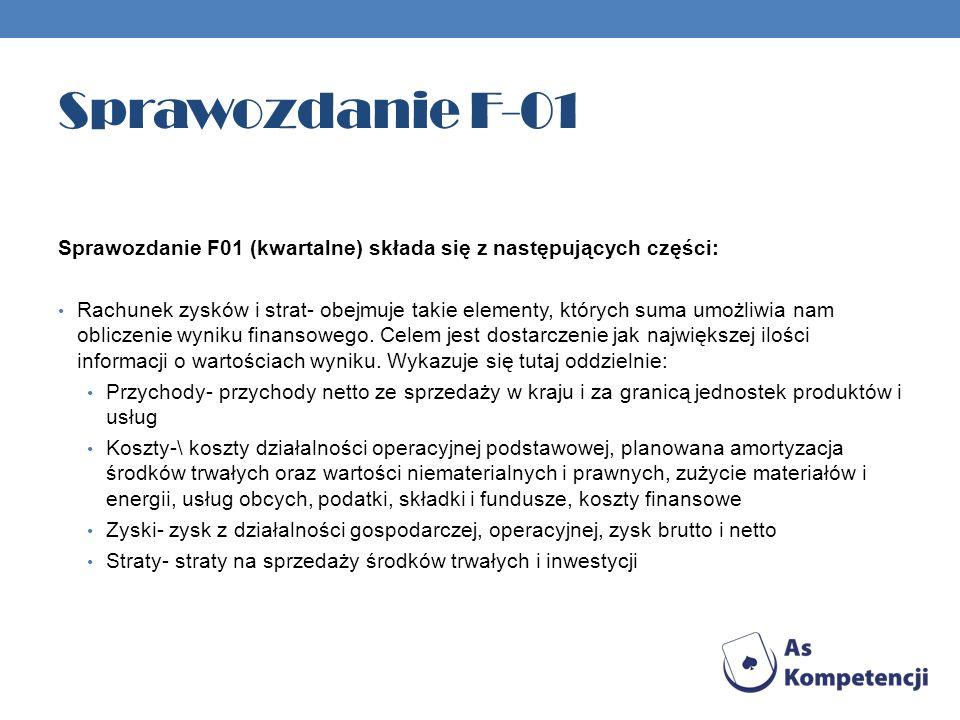Sprawozdanie F-01 Sprawozdanie F01 (kwartalne) składa się z następujących części: