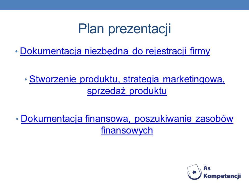 Plan prezentacji Dokumentacja niezbędna do rejestracji firmy