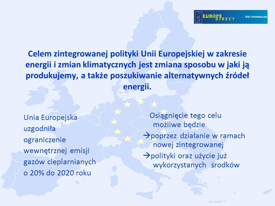 Celem zintegrowanej polityki Unii Europejskiej w zakresie energii i zmian klimatycznych jest zmiana sposobu w jaki ją produkujemy, a także poszukiwanie alternatywnych źródeł energii.