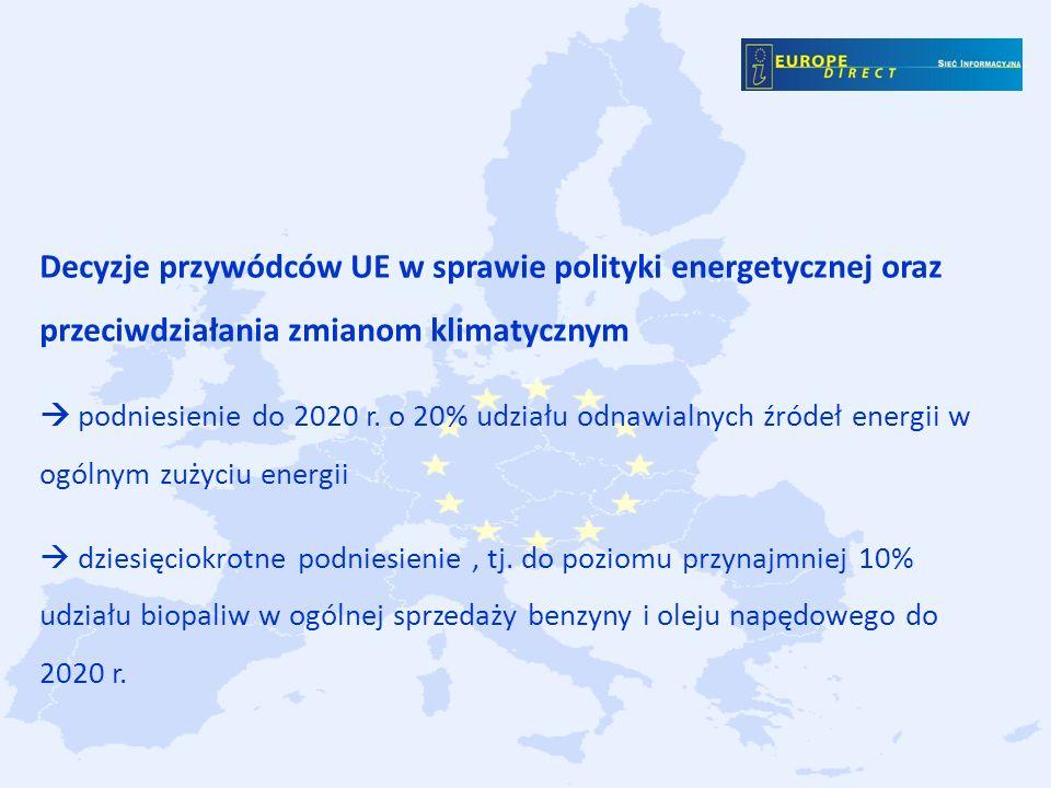 Decyzje przywódców UE w sprawie polityki energetycznej oraz przeciwdziałania zmianom klimatycznym