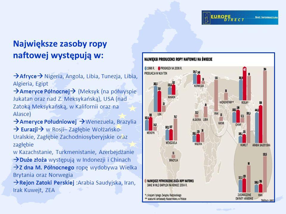 Największe zasoby ropy naftowej występują w: Afryce Nigeria, Angola, Libia, Tunezja, Libia, Algieria, Egipt Ameryce Północnej (Meksyk (na półwyspie Jukatan oraz nad Z.