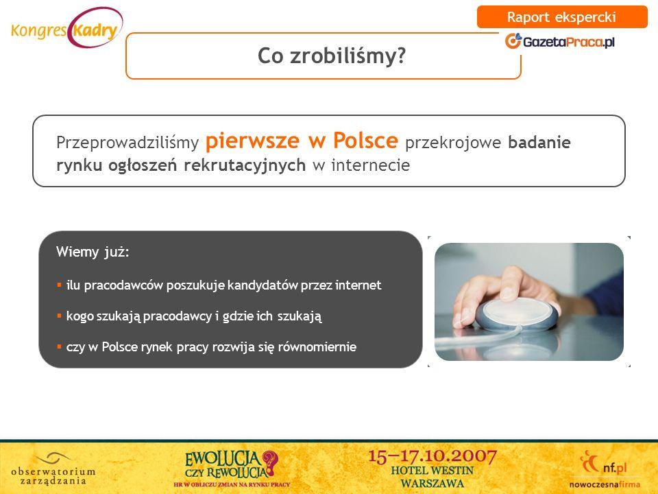 Raport ekspercki Co zrobiliśmy Przeprowadziliśmy pierwsze w Polsce przekrojowe badanie rynku ogłoszeń rekrutacyjnych w internecie.