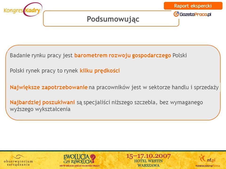 Raport ekspercki Podsumowując. Polski rynek pracy to rynek kilku prędkości.