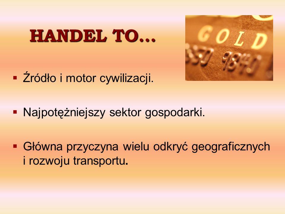 HANDEL TO... Źródło i motor cywilizacji.