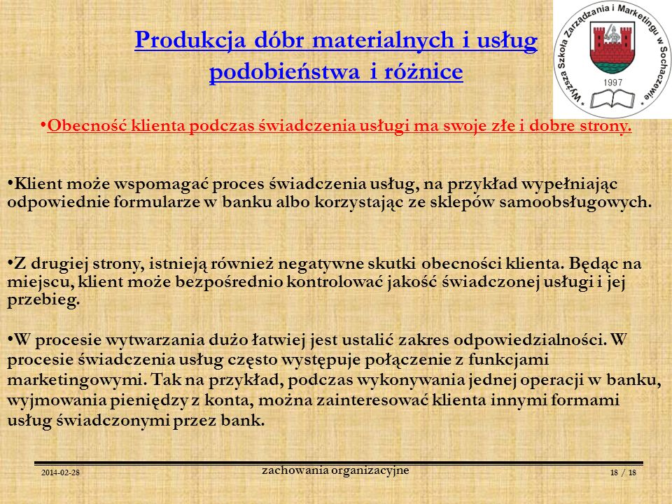 Produkcja dóbr materialnych i usług podobieństwa i różnice