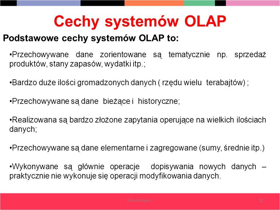 Cechy systemów OLAP Podstawowe cechy systemów OLAP to: