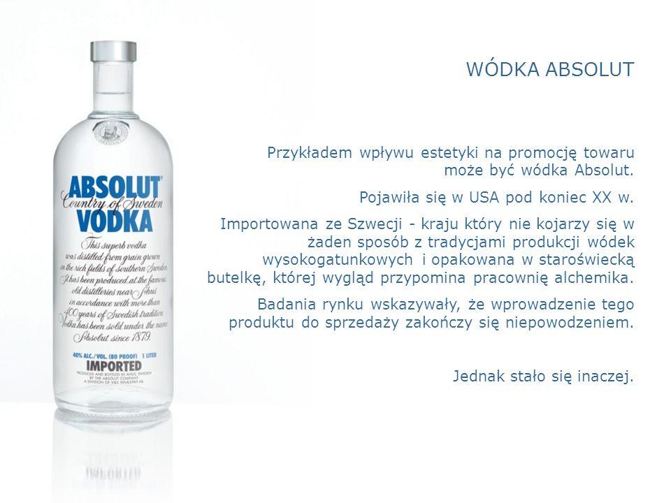 WÓDKA ABSOLUT Przykładem wpływu estetyki na promocję towaru może być wódka Absolut. Pojawiła się w USA pod koniec XX w.