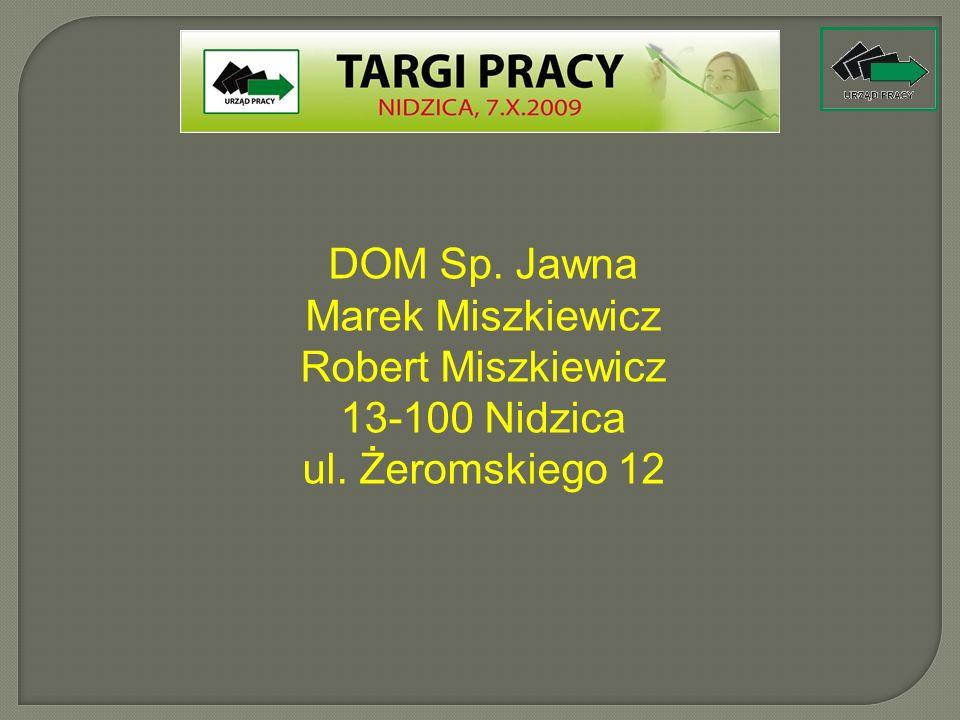 Robert Miszkiewicz 13-100 Nidzica ul. Żeromskiego 12