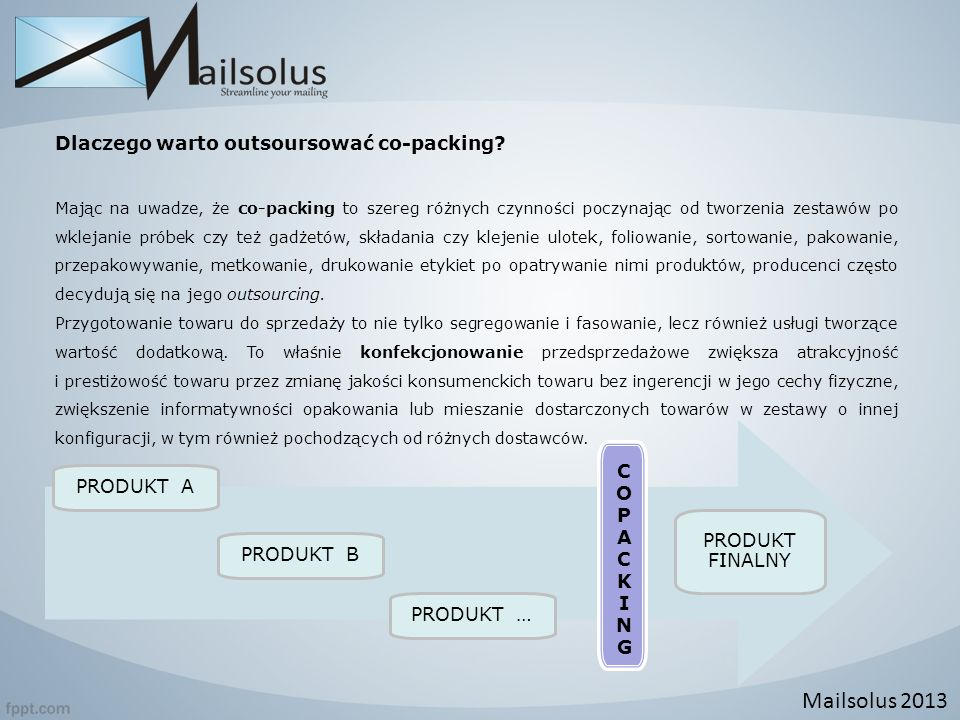 Mailsolus 2013 Dlaczego warto outsoursować co-packing COPACKING