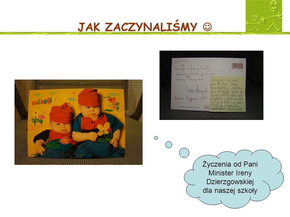 Życzenia od Pani Minister Ireny Dzierzgowskiej dla naszej szkoły