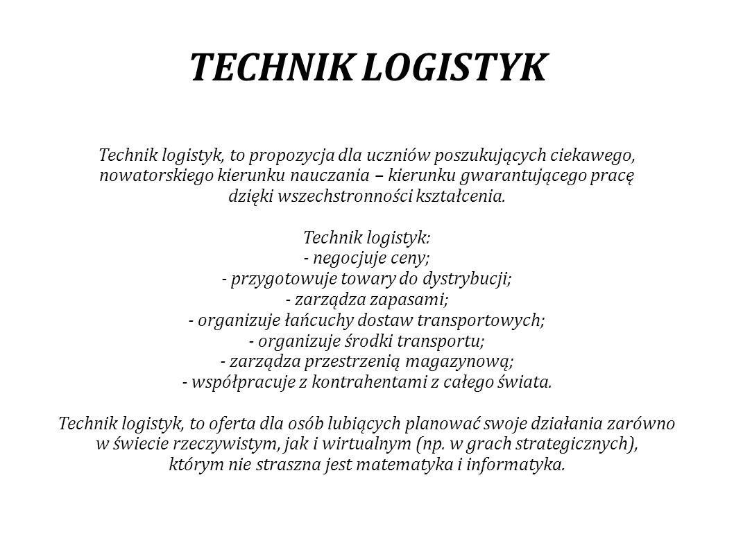 TECHNIK LOGISTYK Technik logistyk, to propozycja dla uczniów poszukujących ciekawego,