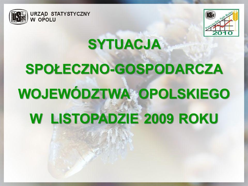 SPOŁECZNO-GOSPODARCZA WOJEWÓDZTWA OPOLSKIEGO W LISTOPADZIE 2009 ROKU