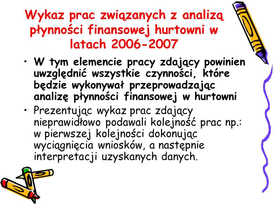Wykaz prac związanych z analizą płynności finansowej hurtowni w latach 2006-2007
