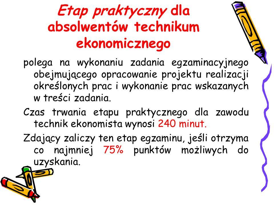 Etap praktyczny dla absolwentów technikum ekonomicznego