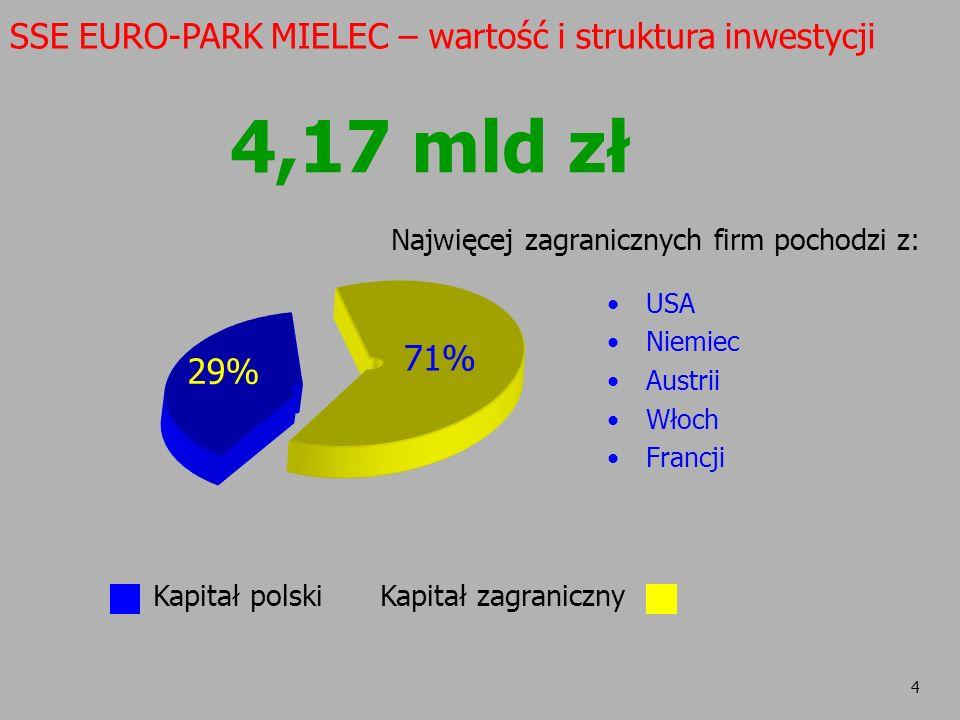 4,17 mld zł SSE EURO-PARK MIELEC – wartość i struktura inwestycji 71%