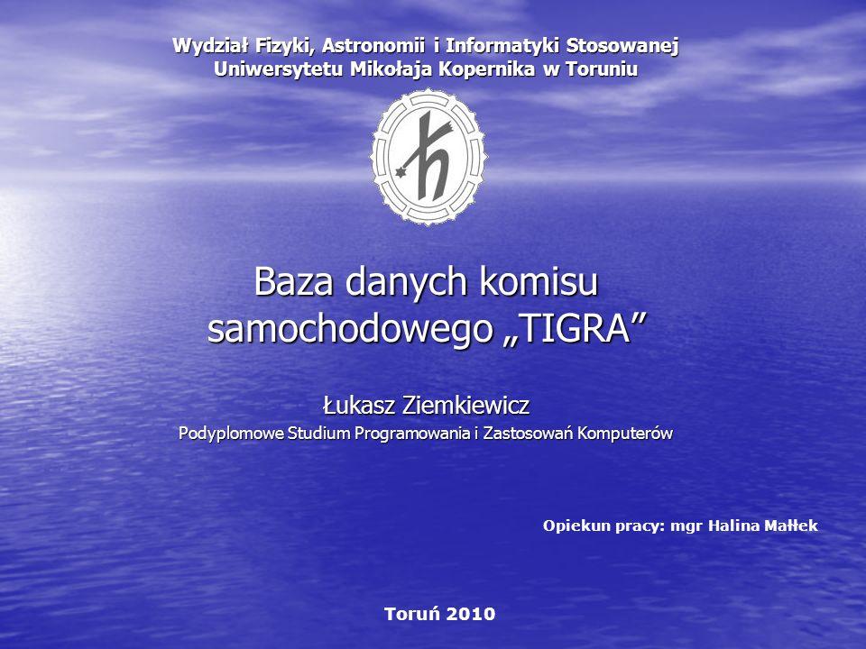 """Baza danych komisu samochodowego """"TIGRA"""