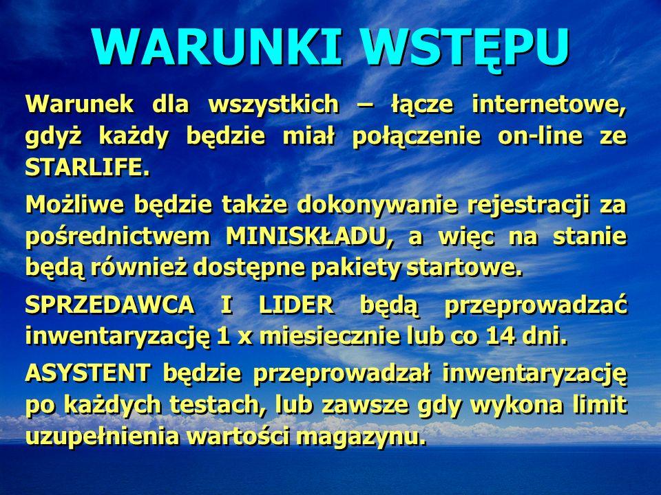 WARUNKI WSTĘPU Warunek dla wszystkich – łącze internetowe, gdyż każdy będzie miał połączenie on-line ze STARLIFE.