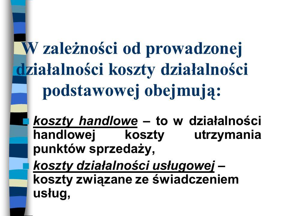 W zależności od prowadzonej działalności koszty działalności podstawowej obejmują: