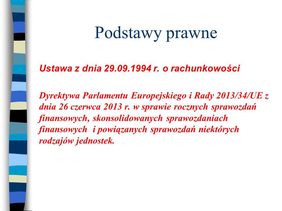Podstawy prawne Ustawa z dnia 29.09.1994 r. o rachunkowości