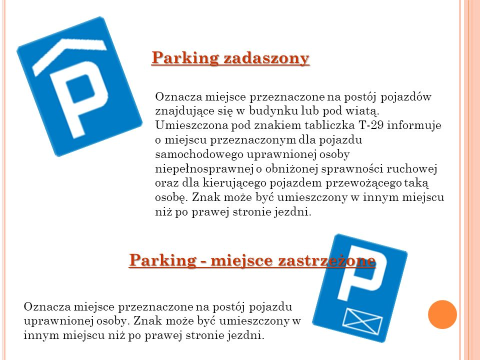 Parking - miejsce zastrzeżone