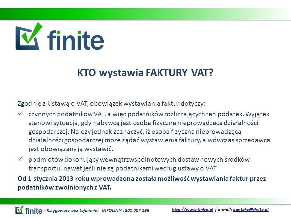 KTO wystawia FAKTURY VAT