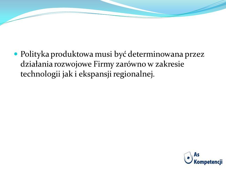 Polityka produktowa musi być determinowana przez działania rozwojowe Firmy zarówno w zakresie technologii jak i ekspansji regionalnej.