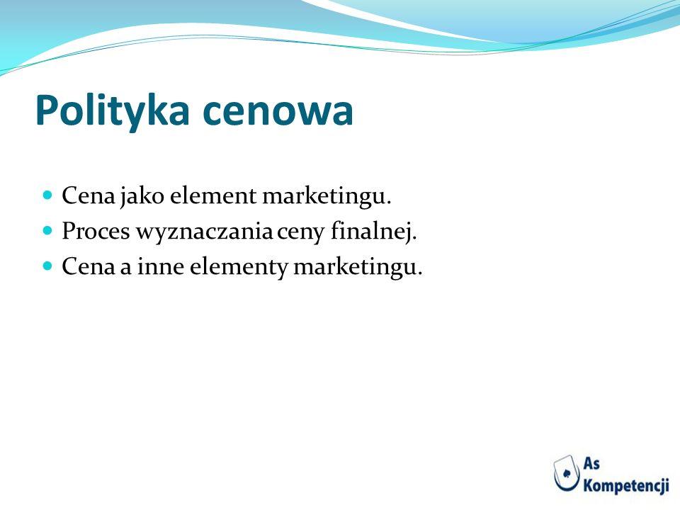Polityka cenowa Cena jako element marketingu.