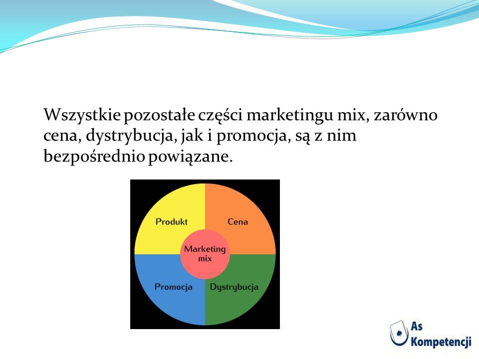 Wszystkie pozostałe części marketingu mix, zarówno cena, dystrybucja, jak i promocja, są z nim bezpośrednio powiązane.
