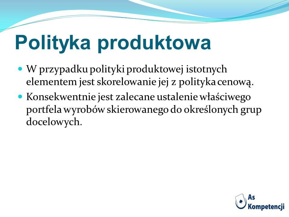 Polityka produktowa W przypadku polityki produktowej istotnych elementem jest skorelowanie jej z polityka cenową.