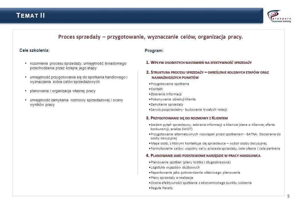 Temat II Proces sprzedaży – przygotowanie, wyznaczanie celów, organizacja pracy. Cele szkolenia: