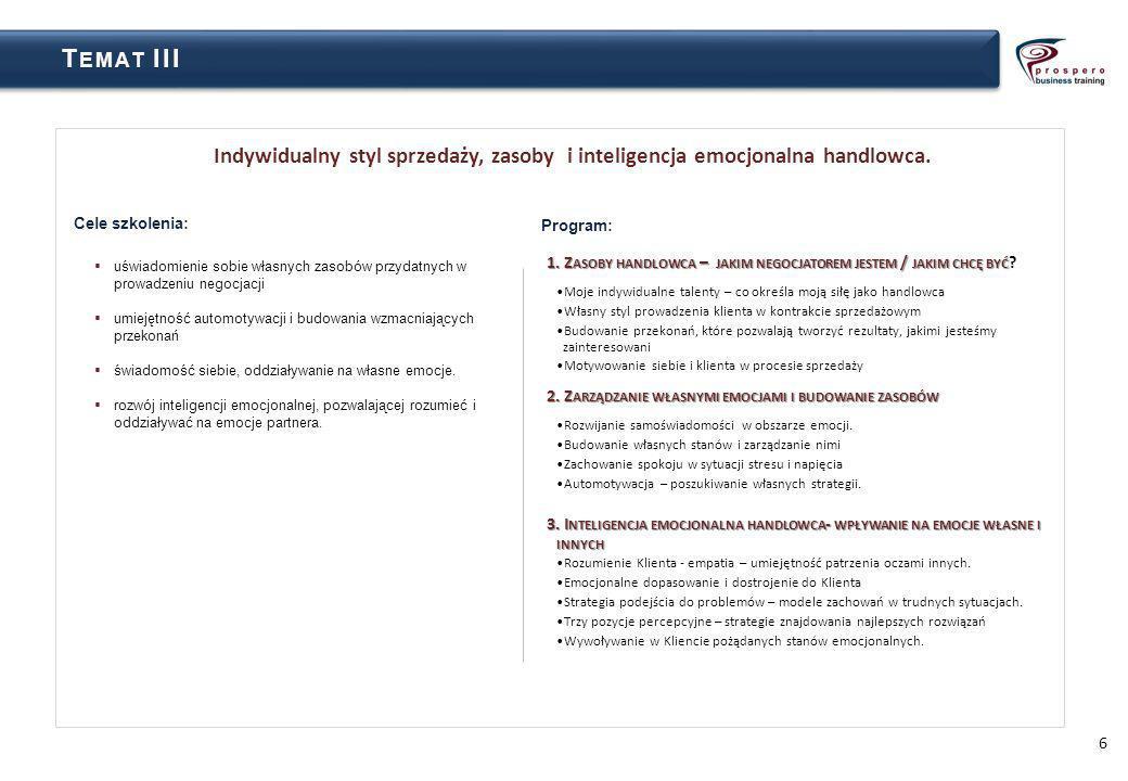 Temat III Indywidualny styl sprzedaży, zasoby i inteligencja emocjonalna handlowca. Cele szkolenia: