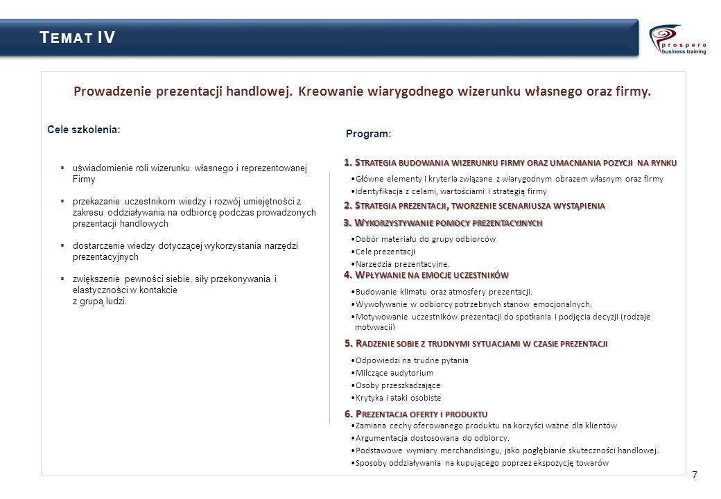 Temat IV Prowadzenie prezentacji handlowej. Kreowanie wiarygodnego wizerunku własnego oraz firmy. Cele szkolenia: