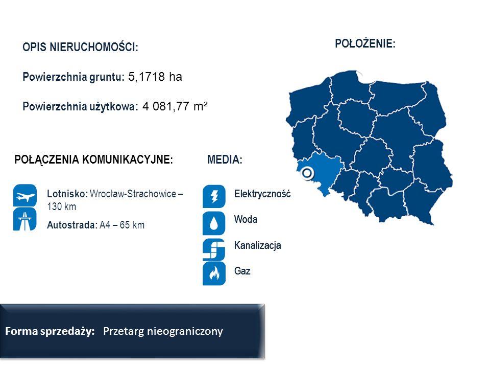 Powierzchnia gruntu: 5,1718 ha Powierzchnia użytkowa: 4 081,77 m²