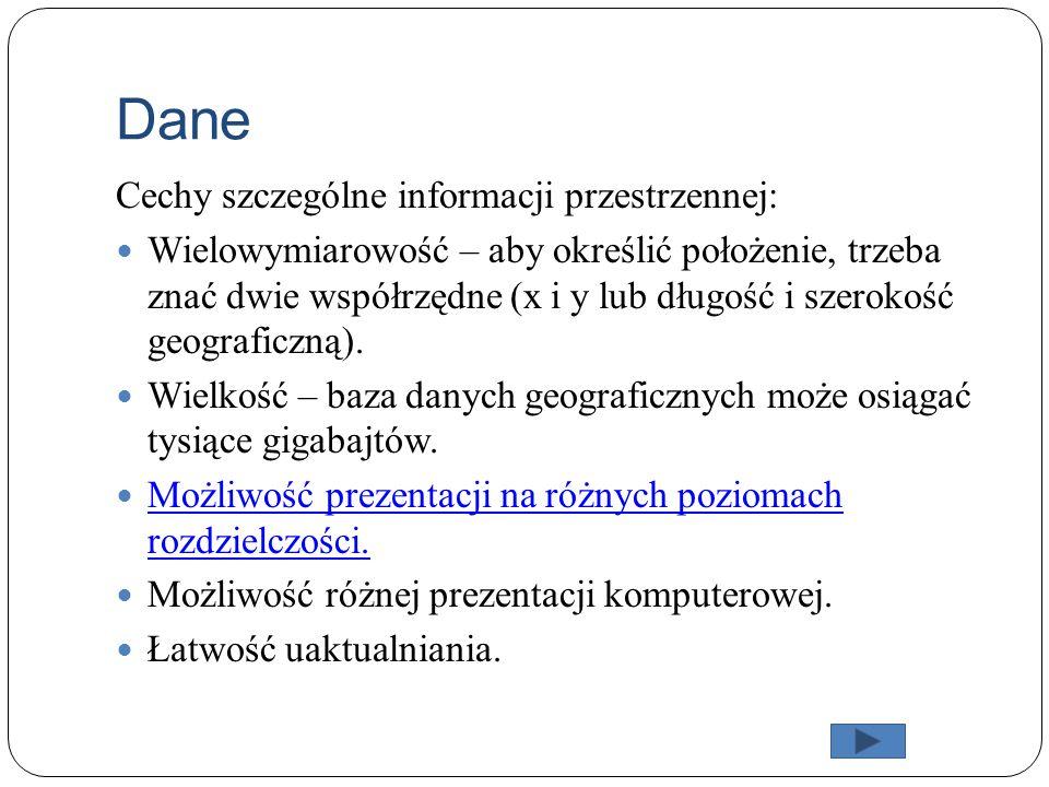 Dane Cechy szczególne informacji przestrzennej: