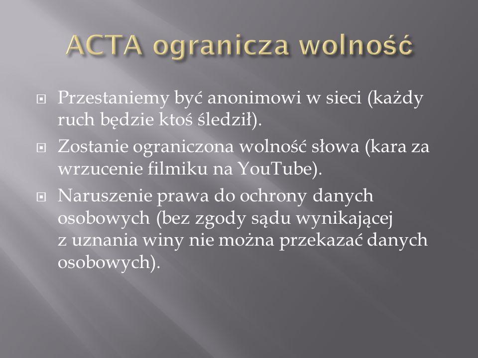 ACTA ogranicza wolność