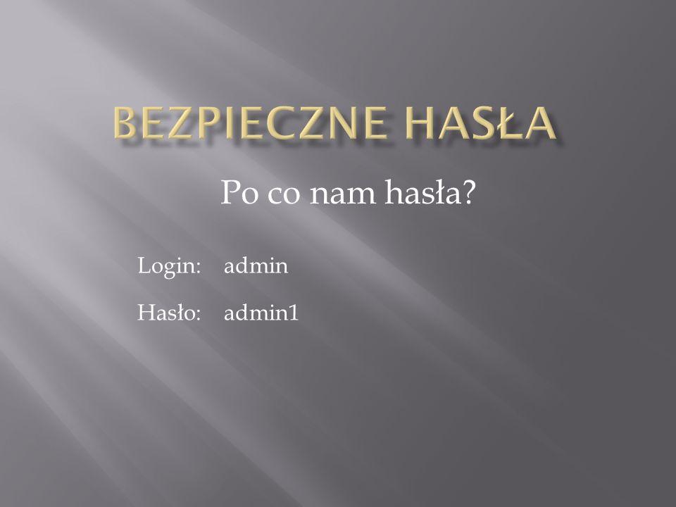 Bezpieczne hasła Po co nam hasła Login: admin Hasło: admin1
