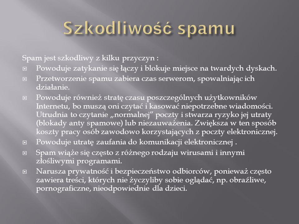 Szkodliwość spamu Spam jest szkodliwy z kilku przyczyn :