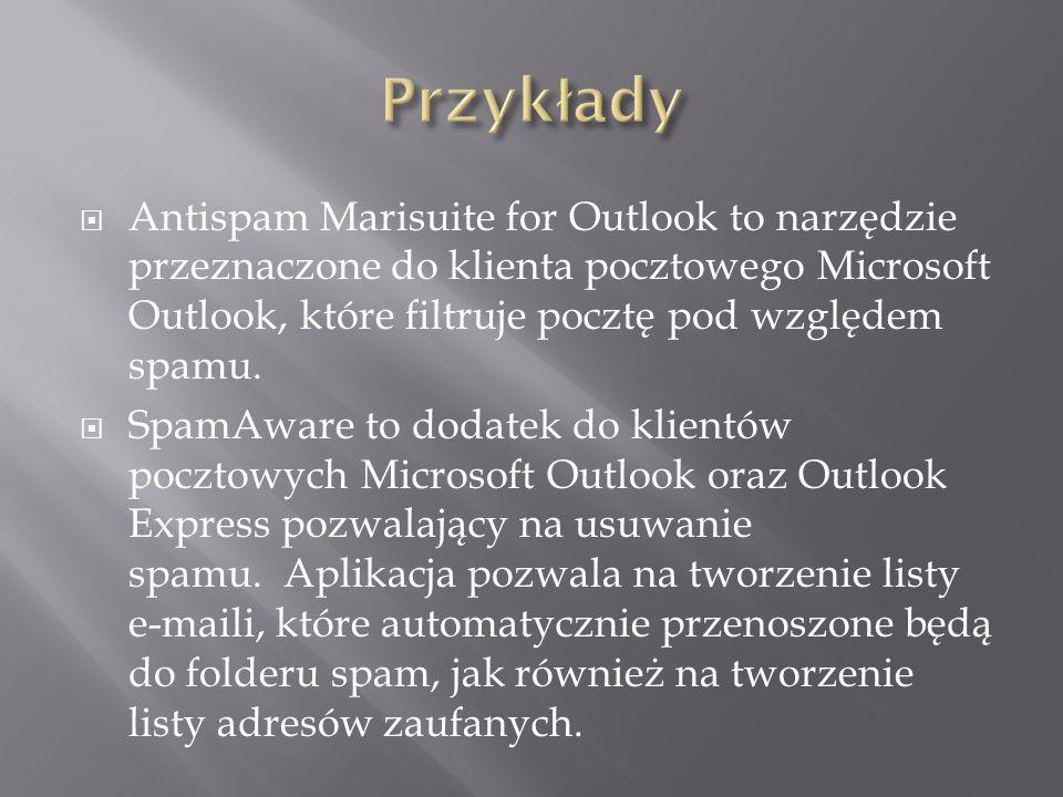 Przykłady Antispam Marisuite for Outlook to narzędzie przeznaczone do klienta pocztowego Microsoft Outlook, które filtruje pocztę pod względem spamu.