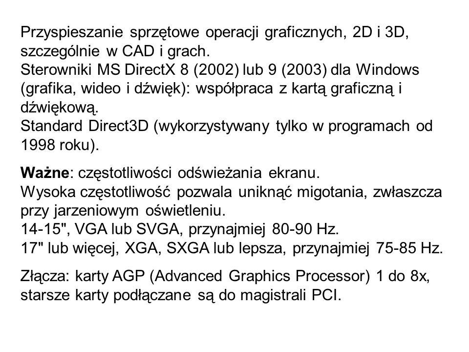 Przyspieszanie sprzętowe operacji graficznych, 2D i 3D, szczególnie w CAD i grach. Sterowniki MS DirectX 8 (2002) lub 9 (2003) dla Windows (grafika, wideo i dźwięk): współpraca z kartą graficzną i dźwiękową. Standard Direct3D (wykorzystywany tylko w programach od 1998 roku).