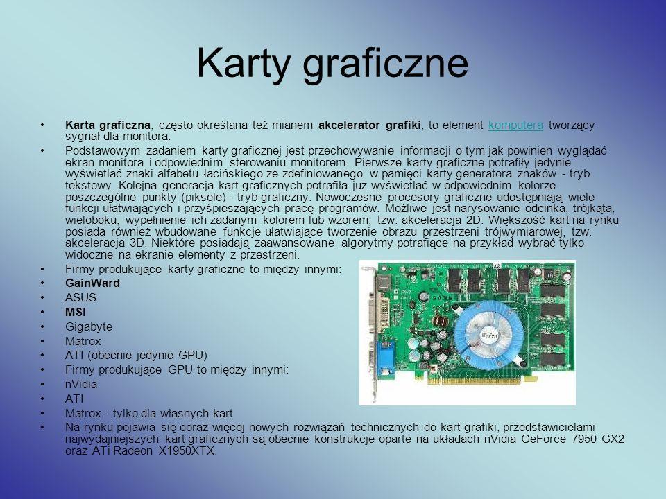 Karty graficzne Karta graficzna, często określana też mianem akcelerator grafiki, to element komputera tworzący sygnał dla monitora.