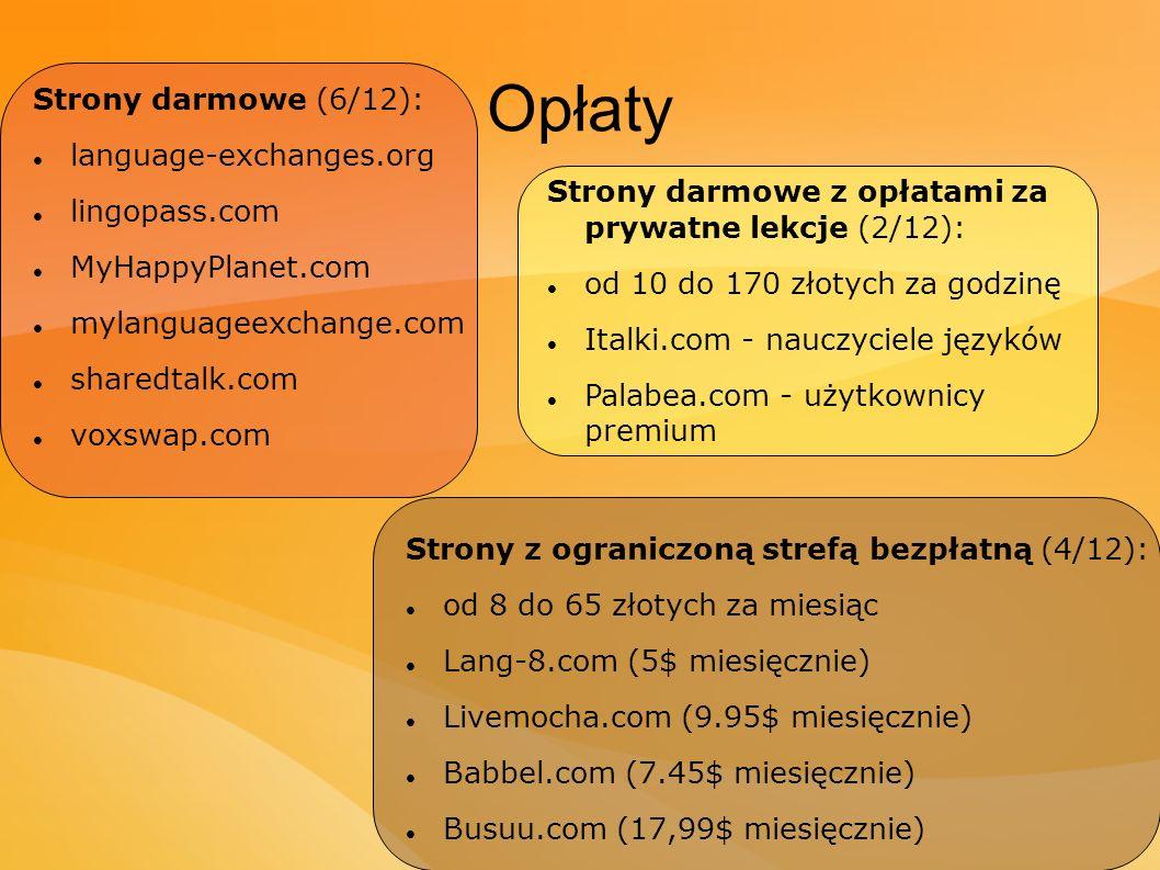 Opłaty Strony darmowe (6/12): language-exchanges.org lingopass.com