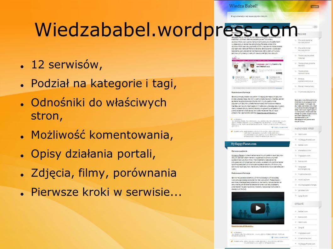 Wiedzababel.wordpress.com 12 serwisów, Podział na kategorie i tagi,