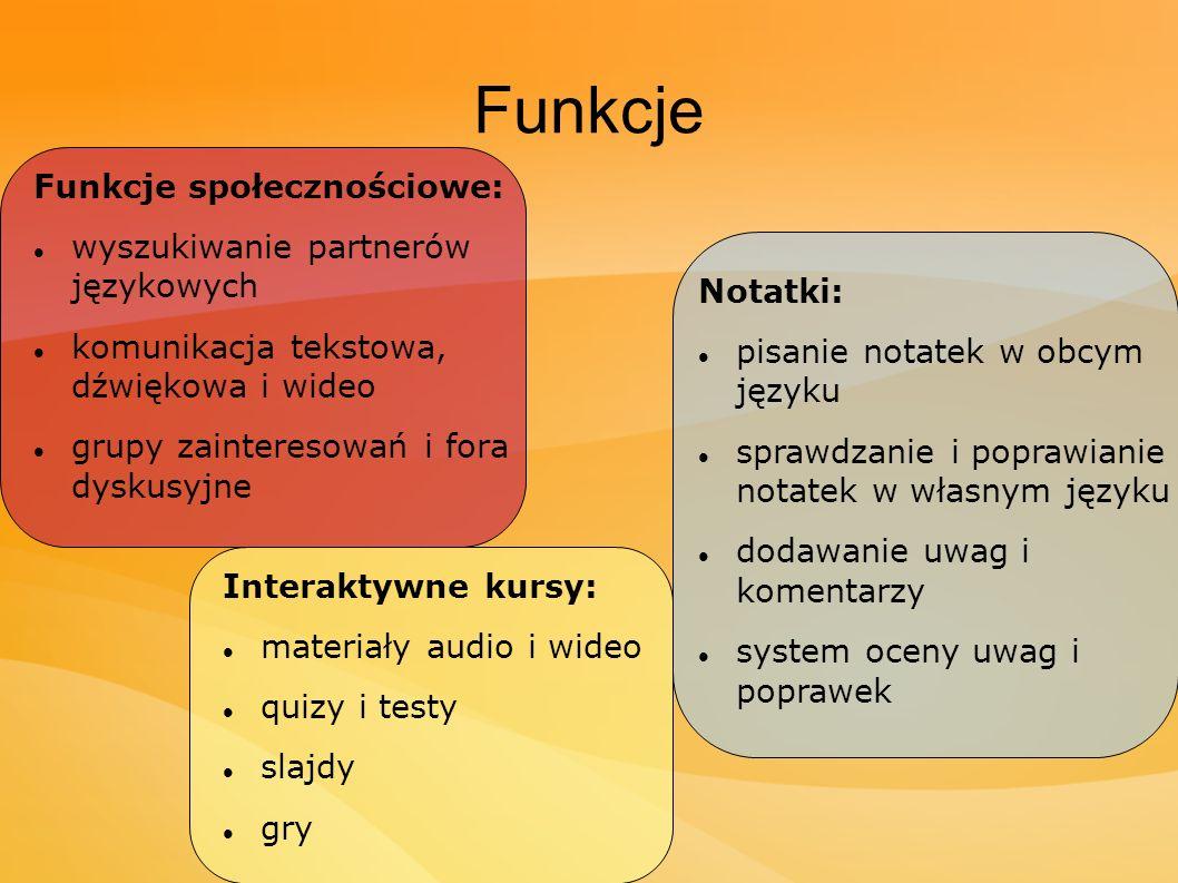 Funkcje Funkcje społecznościowe: wyszukiwanie partnerów językowych
