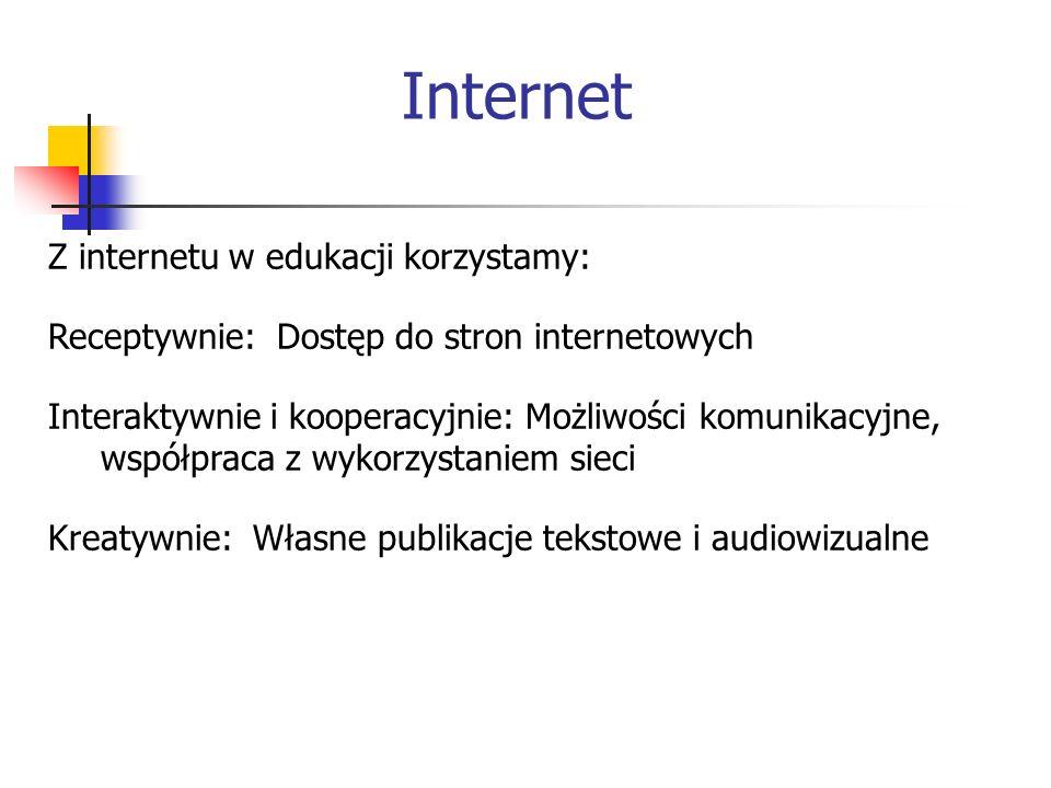 Internet Z internetu w edukacji korzystamy: